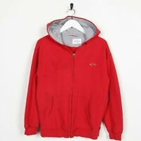 Vintage NOT SURE Small Logo Zip Up Hoodie Sweatshirt Red | Medium M