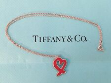 """Tiffany & Co Paloma Picasso Loving Heart Red Enamel Pendant Necklace Silver 18"""""""