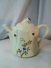 Vtg Mid-Cent pottery Tree Stump Flowers Yellow Teapot Coffee pot Cabin Country