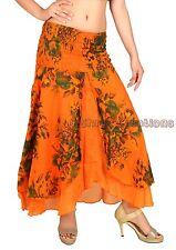 Women's Cotton Orange Long Skirt Stretch Waist Floral Print Skirt Hippie Boho