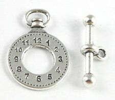 10 Sets Tibetan Silver clock toggle clasp FC15326