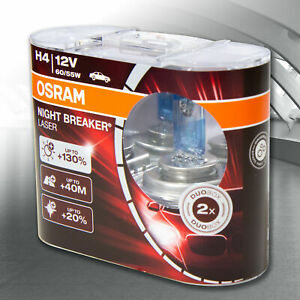 OSRAM H4 NIGHT BREAKER LASER +130% MAXIMUM PERFORMANCE GLOBES TWIN PACK 64193NBL