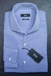 Hugo Boss $195 Men's Jason Slim Fit Navy Blue Striped Cotton Dress Shirt 41 16