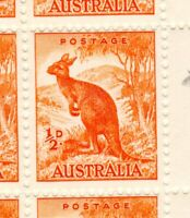 1948 - KANGAROO - SHEET of 80 with Line from EAR to O ) & many other MISPRINTS