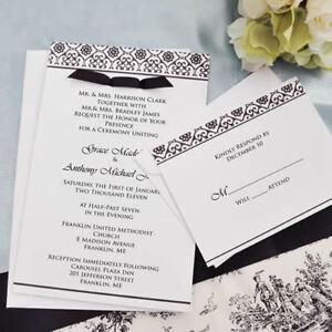 Black & White Damask Design Invitation Kit DIY wedding invitation
