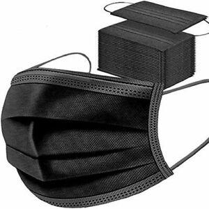 Lot 50 Masque De Protection Tissu Noir Filtres Couches Adulte Respirant