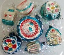 7 VINTAGE MERCURY GLASS CHRISTMAS ORNAMENTS - GERMANY - BLUE