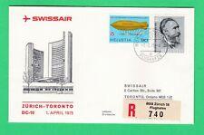 Swissair  Zurich - Toronto Canada 1975 Registered first flight cover FF aviation
