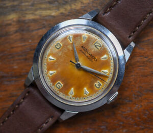 Vintage MOVADO Automatic Stainless Steel Screwback Watch Brown Tropical Dial