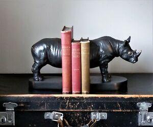 Large Decorative Rhino Rhinoceros Bookends Shelf Tidy Study