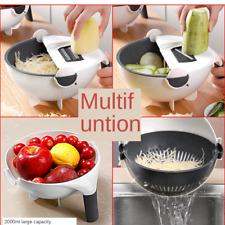 Multifunction 9 In 1 Magic Rotate Vegetable Fruit Cutter Grater w/Washing Basket
