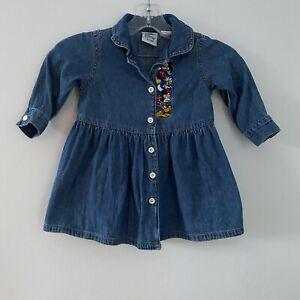 Vtg Disney Store Mickey Minnie Goofy Donald Toddler  Denim Jean Button Dress 24m