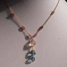 CeS Kette Morganit, Fluorit Nuggets und pink, rosa Turmalin Sticks