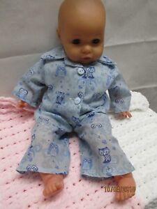 Handmade clothes for Annabell/Baby Doll Pyjamas -  2pce set - Blue Owl Design