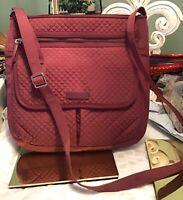 VERA BRADLEY Microfiber Iconic Mail Saddle Bag Crossbody Wine Maroon Red EUC
