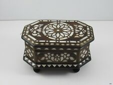 Vintage Turkish Handmade Mother of Pearl Brass Inlay Jewelry Box : Octagonal