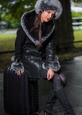 NEW LEATHER SHEEPSKIN COAT WITH FOX FUR SHEARLING JACKET FOR WOMEN GIFT VEST