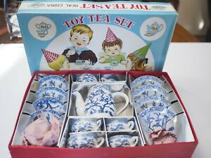 Vintage Japan Blue Willow Child Toy Tea Set 17pc Childrens ORIGINAL BOX