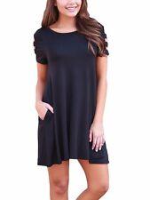 Black Dress Ruffle Short Sleeve Summer Scoop Neck Stretch Casual XL 220023