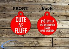 "Personalized Dog Cat ID Tags Charm for Funny Pets ""Cute As Fluff"" Double Sided"