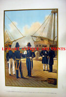 US NAVY & MARINES GALLEON SAILBOAT WARSHIPS ~ Antique 1899 Lithograph Art Print