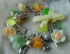"""Fairy spring time"" loaded charm bracelet (yellow roses)"