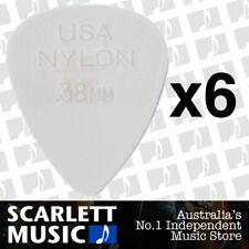 6 x Jim Dunlop Nylon Standard Greys .38mm Gauge Guitar Picks Plectrums 0.38 Grey