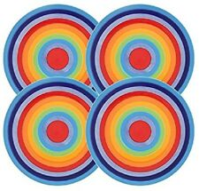 NEW Rainbow hoops striped set of 4 ceramic dinner plates - Windhorse - free post