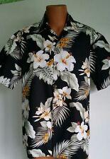 Hibiscus Black L Hawaiian Aloha Shirt Pacific Legend Made in Hawaii 2820