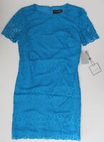 NWT Laundry by Shelli Segal Short Sleeve Blue Lace Mini Cocktail Dress 12 $148