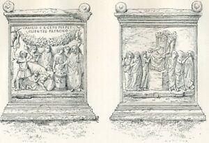 Domestic Fortune Sacrifice Lateran Roman 1886 Antique Print