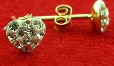 9CT YELLOW GOLD 8MM HEART SHAPE CZ WHITE CRYSTAL BALL STUD EARRINGS GIFT BOXED