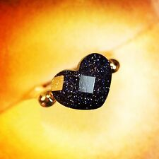 18K Rose Gold Plated Simulated Agate Dark Blue Heart Ring Fashion Jewellery