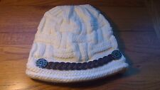 Adult White Ecru Coloured Winter woolly Hat With Fancy Buttons & Braid