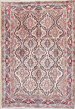 Vintage All-Over Kashmar Ivory Oriental Hand-Knotted 3x5 Wool Rug Floral Carpet