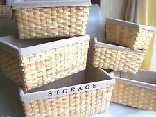 6 Kitchen Wooden Woven Weave Storage Baskets with Cotton Lining Laundry Bin