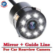 8 LED DC12V 170° CCD Car Reverse Backup Rear View Camera Kits 18.5mm Waterproof