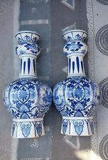 2 ANTIQUE DUTCH PORCELAIN DELFT BLUE WHITE GARLIC NECK KNOBBLE VASES