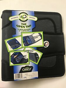 """Case It-The Open Tab-3 Ring Binder-2"""" Capacity In Black-Expanding File-Pockets"""