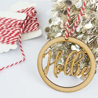Personalised Wooden Bauble Hanging and Bunting Name Gift Tag MDF Christmas Decor