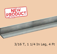 "Aluminum Angle 3/16 Inch x 1-1/4"" x 4 Ft Length Unpolished Alloy 6061 90° Stock"