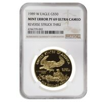 1989 W 1 oz $50 Proof Gold American Eagle NGC PF 69 UCAM Mint Error (Rev Struck
