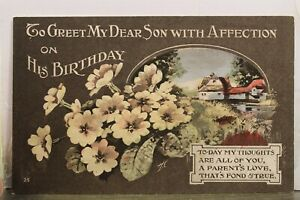 Greetings To Greet My Dear Son With Affection His Birthday Postcard Old Vintage