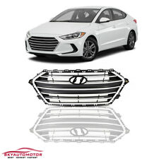 Fit 2017 2018 Hyundai Elantra Front Center Grille Grill Black With Silver Trim (Fits: Hyundai Elantra)