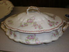 Coronet LIMOGES Covered Vegetable Bowl - Pink Roses w/Gold Handles