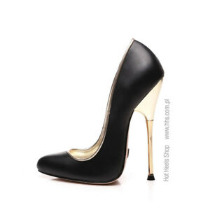 Giaro BABY Black leather look pumps with a gold heels