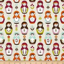 1m Matryoshka principal Crema Tela Por Metro Riley Blake Muñeca Rusa Kids Infantiles