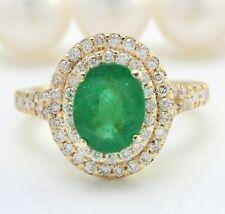 5.40 Ct Natural Esmeralda Zambiana & Diamonds en 14K Oro Amarillo Macizo de