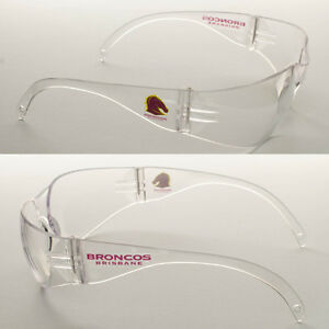 6 Pairs of New NRL Broncos Safety Glasses Clear Lens Merchandise AS/NZS1337.1