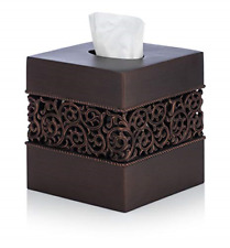 Essentra Home Bronze Finish Squared Tissue Box Cover for Bathroom Vanity Counter